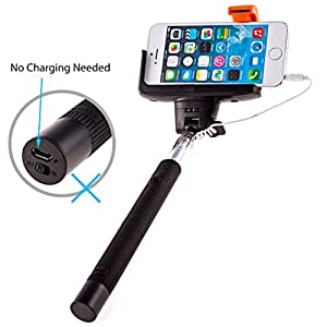 [Overstock Sale]PTDC Selfie Monopod Stick with Built-in Remote Shutter, Wired Cable, Black Arm Extender | Only for Iphone 6 6plus 5s 5c 5 4s 4, Samsung S3 S4 S5 S6 Note 4 3 2 É