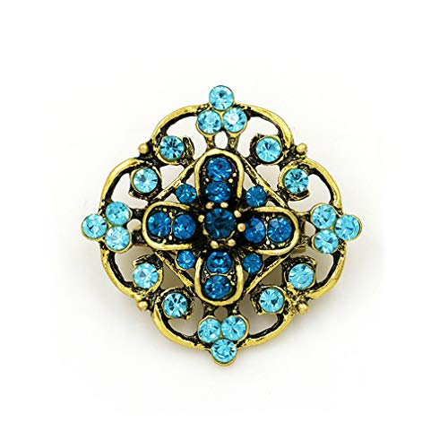 DARLING HER Vintage Gold Color Plated Crystal Rhinestones Flower Antique Brooch Pins for Women in Assorted 634