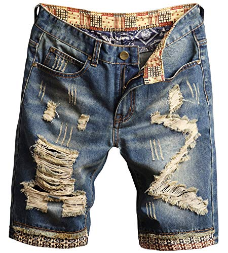 LATUD Men's Moto Biker Jeans Shorts Ripped Distressed Denim Shorts, 780-Vintage Blue, US 42 = Tag 44