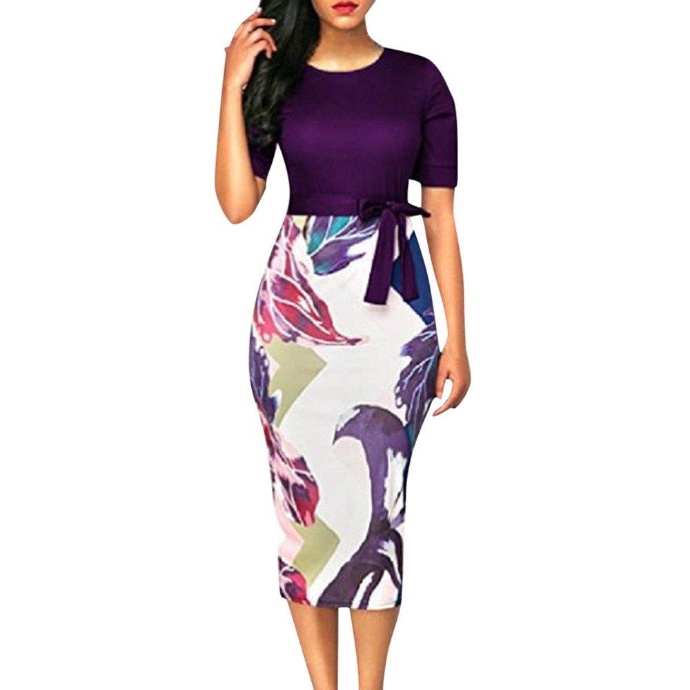 Littleice Women Dress,Fashion Women's Hifh Waist Bodycon Printed Bandage Pencil Dress Party Knee Length Summer Dress (Purple, S)