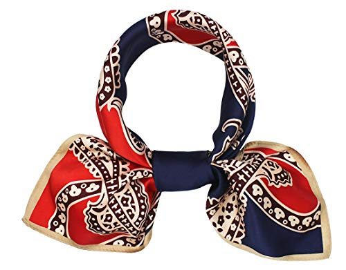 100% Pure Mulberry Silk Square Scarf for Hair-27''x27''- Soft Breathable Lightweight Satin Silk Neckerchief Headscarf (Blue&Red ()