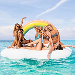 Rainbow Island Inflatable Water Pool Float, TG Outdoor Vacation Beach Loungers Lake Ride-Ons River Raft, Funny Inflatable Pool Party Toys For Adults Kids,825553 In