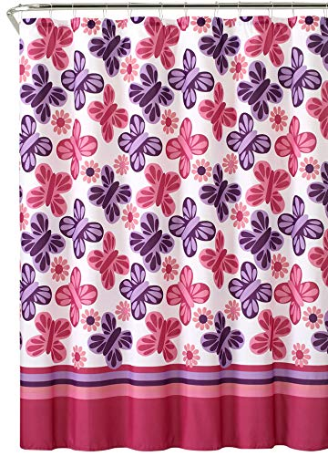 Victoria Classics Wind Song Purple Pink White Butterflies Flowers Girls Printed Shower - For Purple Girls Shower Curtain
