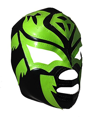 SOMBRA Adult Lucha Libre Wrestling Mask (pro-fit) Costume Wear - Black/Green by Mask Maniac