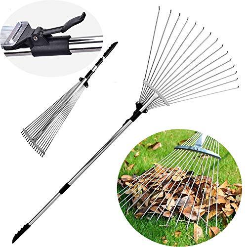 Old Tjikko Garden Leaf Rake,Grass Rake for Lawn,Adjustable Lawn Grass Rake for Grass Cleaning Fallen Leaves Weeds,34 to 63-Inch Adjustable Gardening Tools(Stainless Steel)
