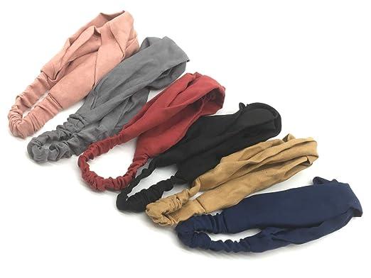 einfarbig weich und dehnbar Haarband B/ögen Zubeh/ör f/ür Mode Yofa 6er Pack Damen-Stirnb/änder