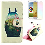 M-LV Samsung Galaxy S4 leather Case <Totoro > Fashion Pattern Printing Wallet Flip Magnet Cards Slots Stand Leather Carry Case with Screen Protector and Cleaning Cloth