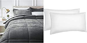 AmazonBasics Ultra-Soft Micromink Sherpa Comforter Bed Set, King, Charcoal - 3-Piece & Down Alternative Bed Pillows for Stomach and Back Sleepers, Set of 2, Soft Density, King