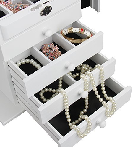 BELLAMORE GIFT Large Wooden Jewelry Box Armoire Watch Storage Case Organizer for Girls (White) by BELLAMORE GIFT (Image #4)