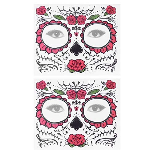 Frcolor 2pcs Temporary Skeleton Tattoos Day of The Dead Supplies Waterproof Face Tattos for Halloween]()