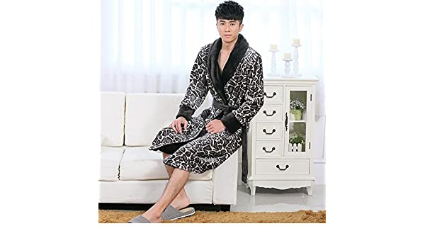 Amazon.com: LJ&L Coral Velvet Couple thick Breathable Sleeping Sleeve Comfort Bathrobe Fashion Home Service Flannel Loose Pajamas,Men,S: Home & Kitchen