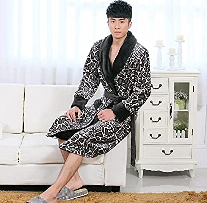LJ&L Coral Velvet Couple thick Breathable Sleeping Sleeve Comfort Bathrobe Fashion Home Service Flannel Loose Pajamas