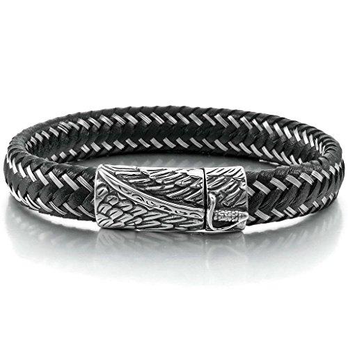(Epinki, Men's Stainless Steel Genuine Leather Bracelet Bangle Cuff Black Silver Sword Angel Wing 22cm)
