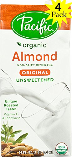 Pacific Almond Milk - Pacific Beverages Unsweetened Almond Original, Gluten Free, 32-ounces (4 Pack)