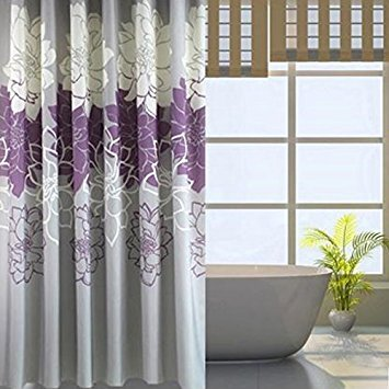 Alicemall Floral Shower Curtain Rustic Style Gray and Purple Flower Bathroom Curtain Set, Waterproof Polyester Fabric Summer Bath Curtain,71x71 inch, 12 Hooks Included (Purple)