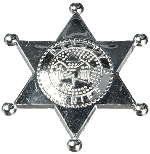 Silver Sherriff Star Badge Western Costume Party Accessory Favour and Prize Giveaway, Plastic, (Deputy Sheriff Badge)