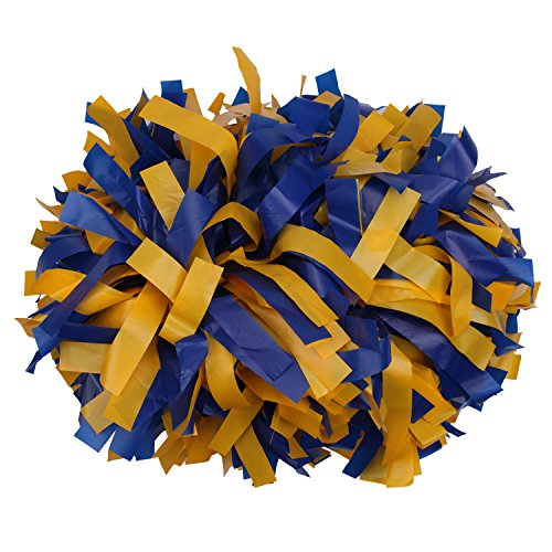 ICObuty Plastic Cheerleading Pom pom 6 inch 1 Pair(Yellow-Royal blue)
