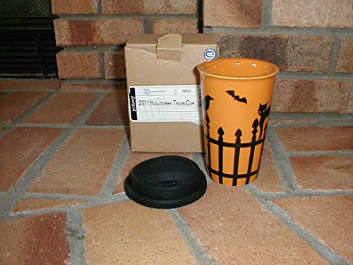 Longaberger Travel Cup / Mug Pottery Stoneware Halloween Black Orange New In Box -