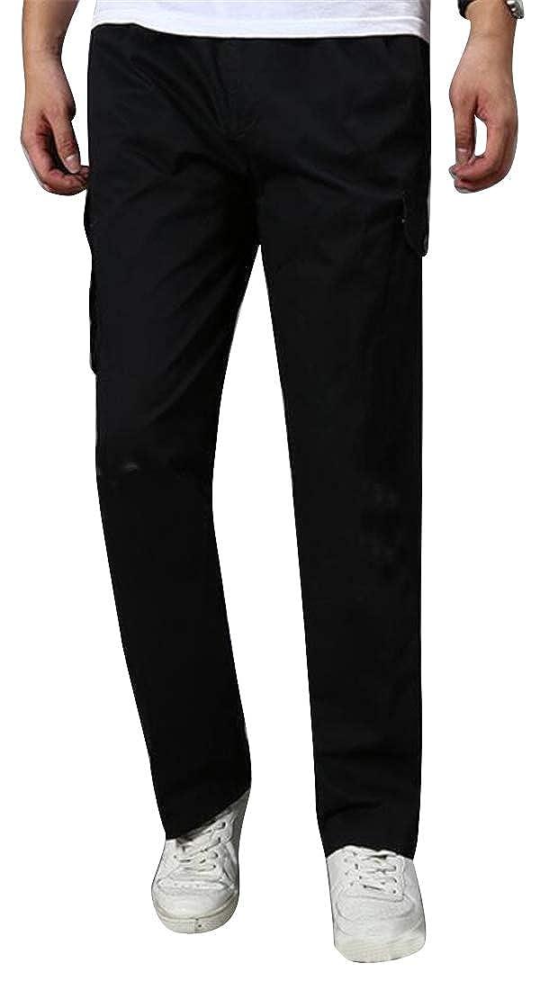 pipigo Men Elastic Waist Plus Size Cotton Sport Running Trainning Lounge Pants Trousers