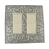 Meriville French Scroll 2 Rocker Wallplate, Double Switch Electrical Cover Plate, Pewter