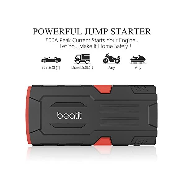 Beatit 800A Peak 18000mAh 12V Portable Car Jump Starter With Smart Jumper Cables Auto Battery Booster Power Pack Phone Power Bank With Smart Charging Ports
