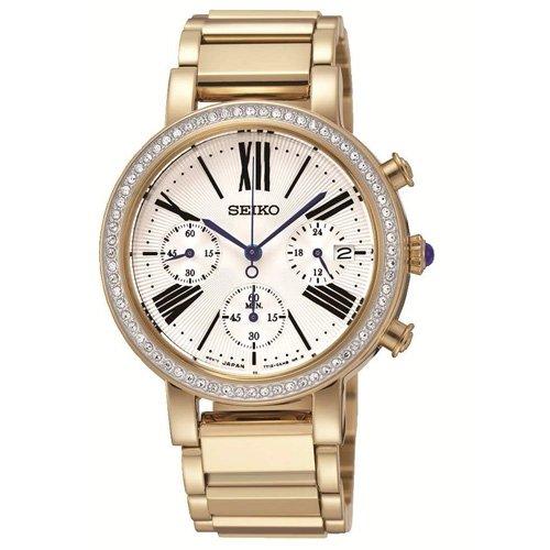Seiko Chronograph White Dial Gold-plated Ladies Watch SRW014