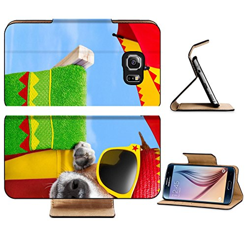 [Luxlady Premium Samsung Galaxy S6 Edge Flip Pu Leather Wallet Case IMAGE 20900252 mexican dog on vacation relaxing on a deck chair under an] (Dog Costume Carrying Gift Video)