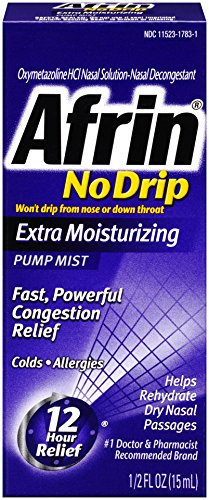 Afrin No Drip 12 Hour Pump Mist, Extra Moisturizing, 0.5 Ounce