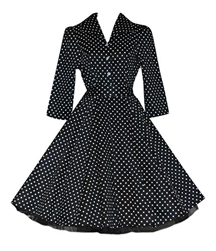 Ladies 's Style années 1940 's Style Vintage classique Noir Polka Dot T-Shirt court manches Swing robe