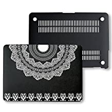 MacBook Pro Retina 13 Case, PU Leather Black Hard Shell Snap On Case Cover Only Fits on MacBook 13 inch Pro Retina Display (A1502 & A1425) (Boho Mandala Heart)
