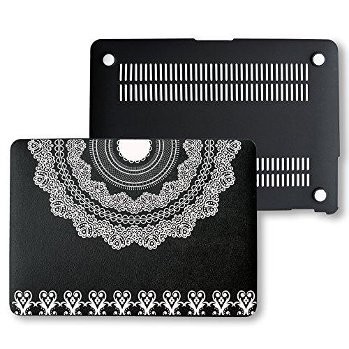 MacBook Pro Retina 13 Case, PU Leather Black Hard Shell Snap