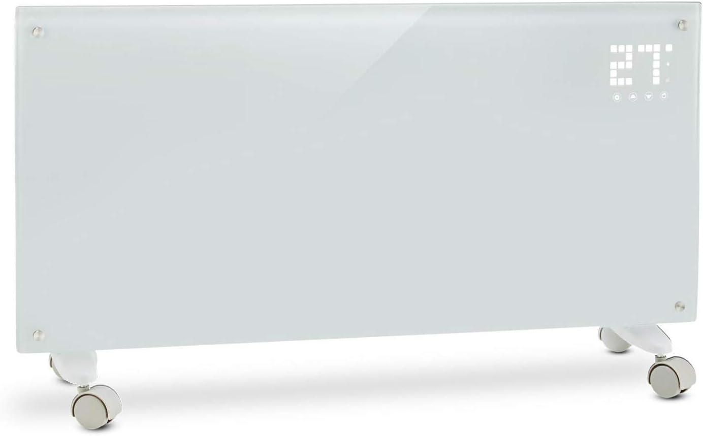 Klarstein Bornholm - Calefactor convector eléctrico, Monitor LED camuflado, Control remoto, Modo Eco, Programable por horas hasta 24, Panel de cristal, Radiador de 1000/2000W, Blanco fantasma