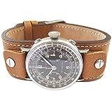 Fluco Vigo 17mm Riveted Tan Leather Cuff Watch Strap
