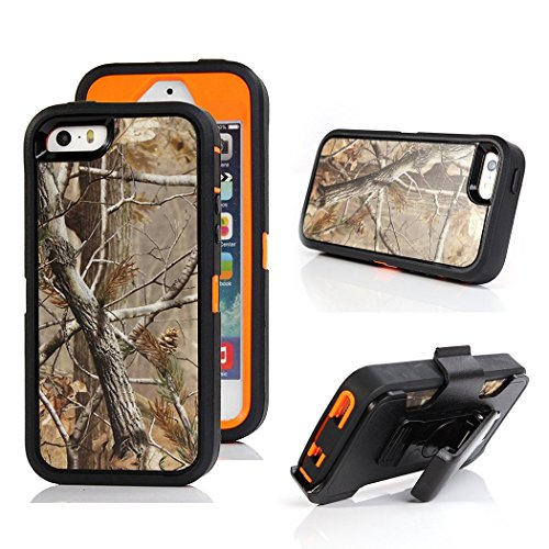 iPhone SE Tree Camo Case, Kecko Defender Military Tough Rubber Shockproof High Impact Hybrid Hunting Tree Camouflage Case Cover For iPhone 5s/se with Belt Clip Built-in Screen Protector - Tree Orange