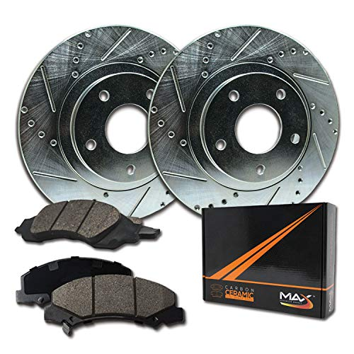 - Max Brakes Front Performance Brake Kit [ Silver Zinc Slotted Drilled Rotors + Ceramic Pads ] KT023711 Fits: 1999-2010 VW Beetle Golf