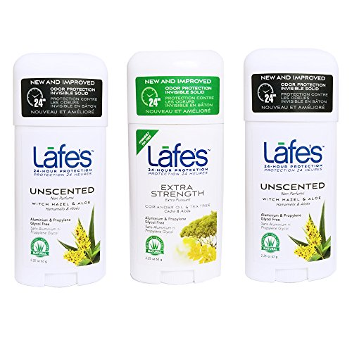 Lafe's Natural Body Care Stick Deodorant 3 Piece Variety Pack, Unscented/Extra Strength