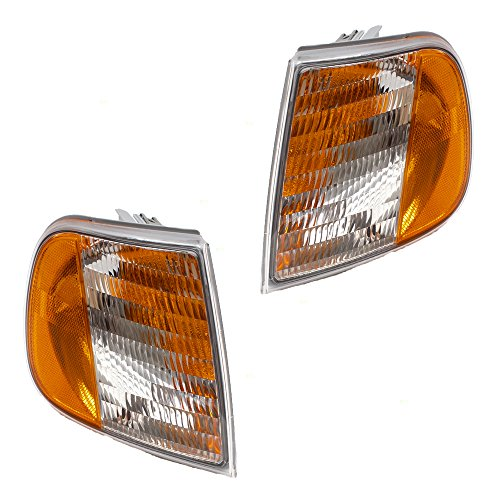 Pair Set Park Signal Corner Marker Lights Lamp Units Replacement for Ford F150 F250 Pickup Truck Expedition F75Z13201AC F75Z13200AC AutoAndArt