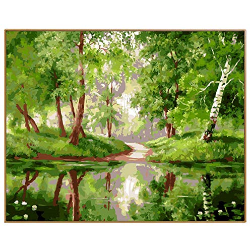 CZYYOU DIY Wald Landschaft Handgemalt Olis Olis Olis Malen Nach Zahlen Kits Digital Farbeing Auf Leinwand Von Hand Bild Grün Riverside, Mit Rahmen, 40x50cm B07PZ4B3L6 | Neuheit  da2761
