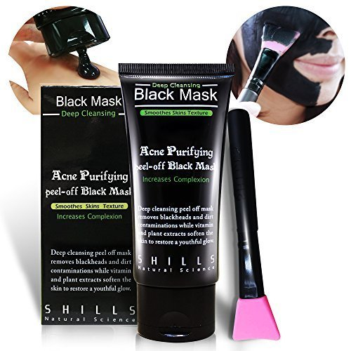 SHILLS Black Mask, Charcoal Peel Off Mask, Peel Off Mask, Charcoal Deep Pore Cleansing Mask, Blackhead Remover Peel Off, Blackhead Purifying Peel Off Mask and Brush Set by SHILLS (Image #5)