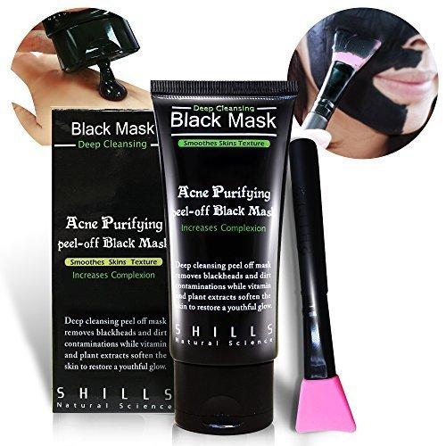 SHILLS Black Mask, Charcoal Peel Off Mask, Peel Off Mask, Charcoal Deep Pore Cleansing Mask, Blackhead Remover Peel Off, Blackhead Purifying Peel Off Mask and Brush Set by SHILLS (Image #6)