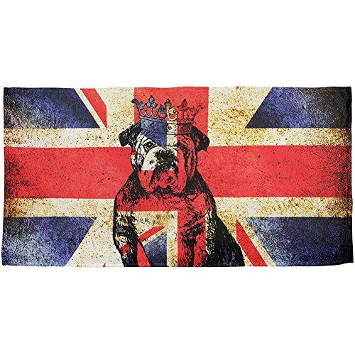 English British Bulldog Crown Grunge Flag All Over Beach Towel Multi Standard One Size by Animal World