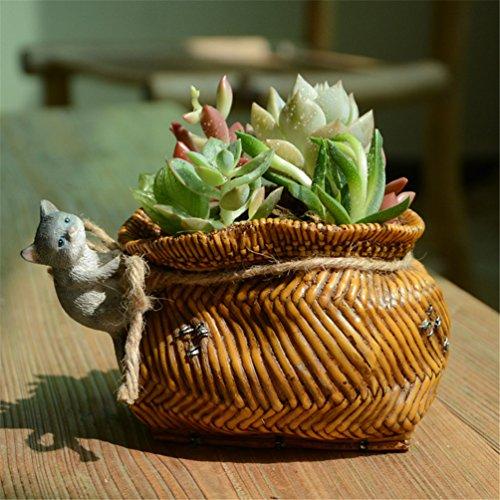 Heliyan Resin Miniature Fairy Garden Cat And Bamboo Baskets Flower Pots Decorated