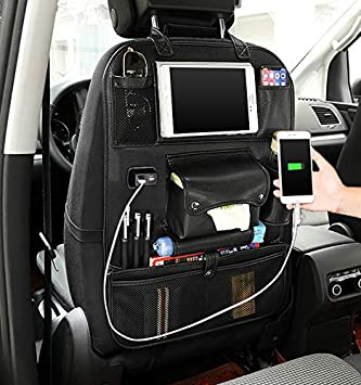 Kick Mats Car Back Seat Protector with Touch Screen Tablet Holder Tissue Box Upgraded Size Backseat Car Organizer 2 Pack Storage Pockets for Toys Book Bottle Drinks Kids Baby Toddler Travel Accessories