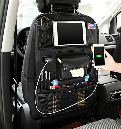 Carridar Leather Car Seat Back Organizer with 4 USB Port Multi-Functional Tablet Umbrella Holder Tissue Box Rear Seat Charger Anti-Kick Travel Backrest Storage Bags, Black