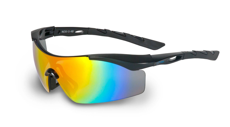 Nexi Sportbrille Sonnenbrille Damen und Herren S-17, schwarz/rot