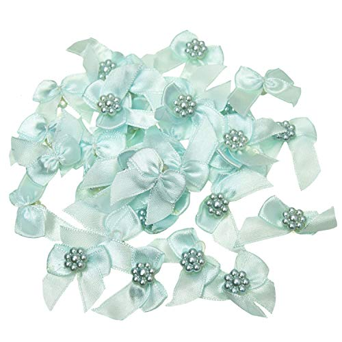 Monrocco 100 Pack Navy Blue Mini Satin Ribbon Bows with Pearl Ribbon Flowers Applique Embellishments for Crafts Scrapbooking Wedding Decoration ()