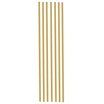 30 Pieces Straight Solid Round Brass Rods Bar Stock Assorted for DIY 300x1mm