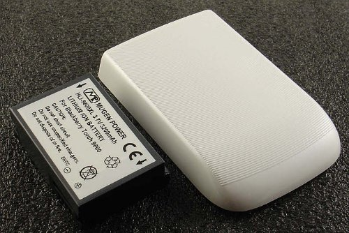 MUGEN 3200mAh XL EXTENDED BATTERY WHITE DOOR FOR BLACKBERRY TORCH 9810 9810 (Torch White 9810)