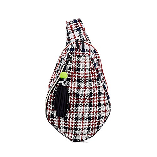 Tory Burch Sport Tennis Racket Sling Backpack Racquet Bag, Plaid
