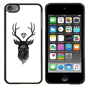 Eason Shop / Premium SLIM PC / Aliminium Casa Carcasa Funda Case Bandera Cover - Blanco Negro Antlers - For Apple iPod Touch 6 6th Touch6